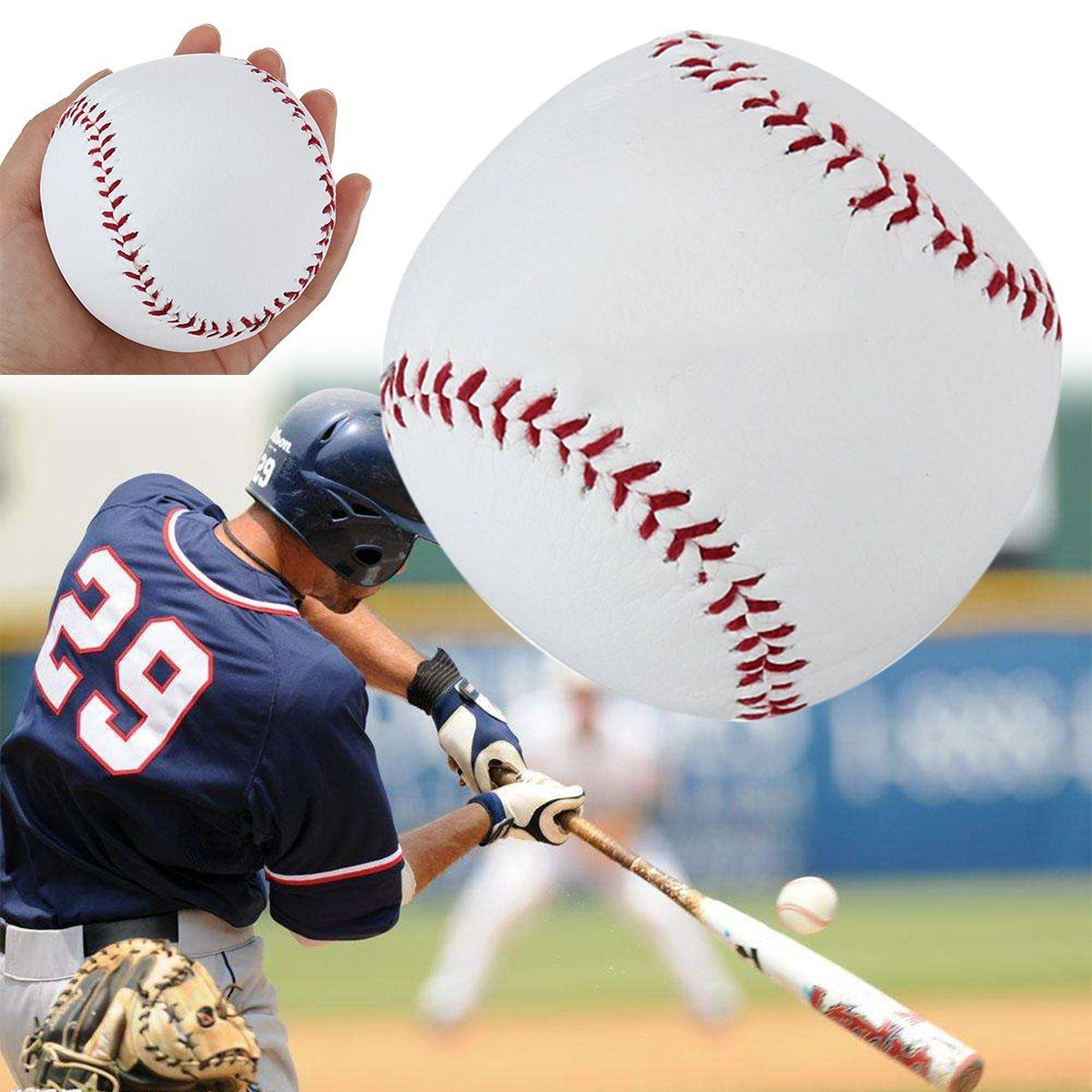 Mayitr Skilled 10 Inch Baseball Sport Recreation White Pu Base Ball Apply Coaching Softball Hand Stitching Sport Group Recreation Dengan Gambar
