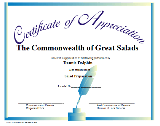 A certificate of appreciation with a blue ink well and pen and a – Certificate Samples