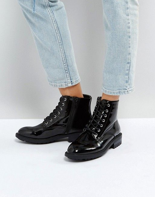 1a68ca7b2 Faith Brent Lace Up Boots Faith Shoes, Black Leather Boots, Patent Leather  Boots,