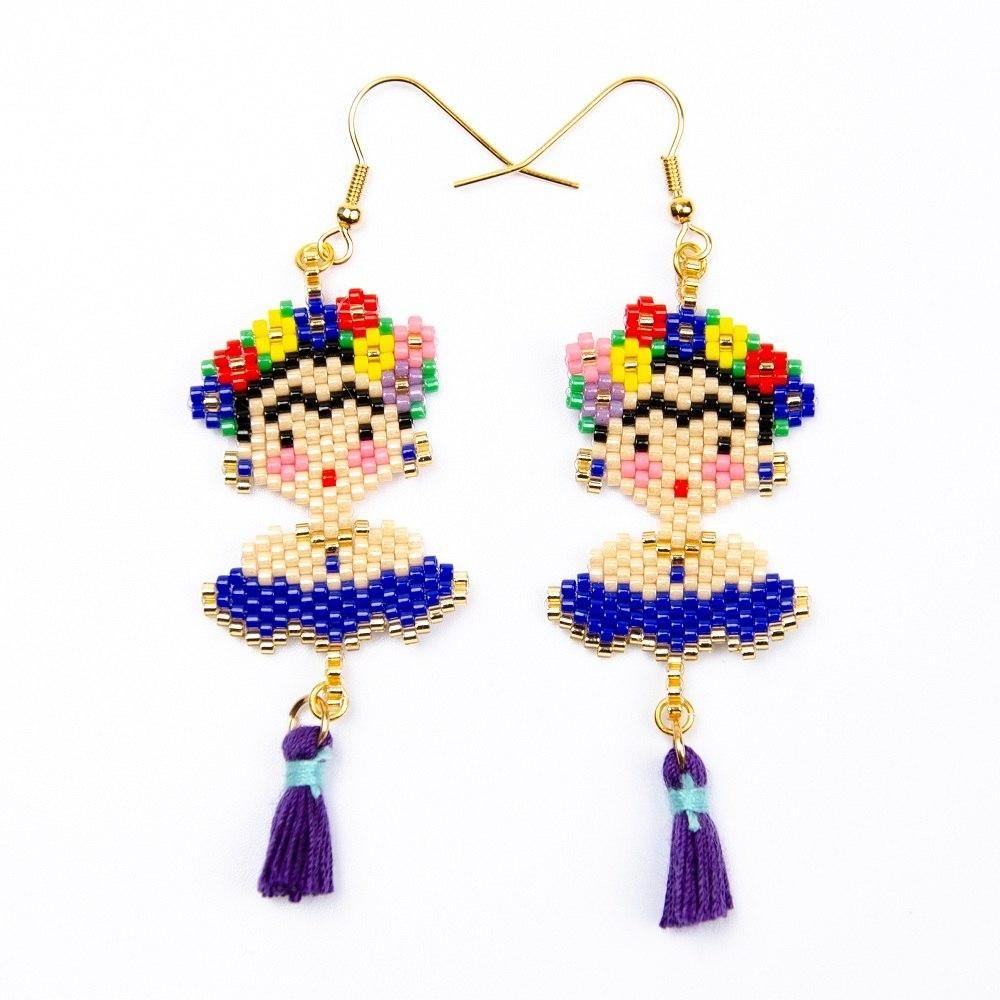 aa1a95390 Frida Khalo Miyuki Earrings | Frida | Aretes de cristal, Aretes ...