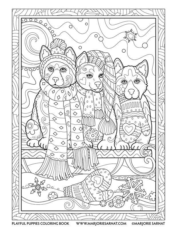 Snow Huskies : Playful Puppies Coloring Book by Marjorie Sarnat ...