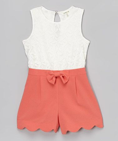 Another great find on #zulily! White & Coral Floral Lace Romper by Monteau Girl #zulilyfinds