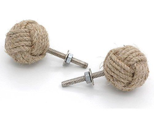 Jute Rope Cabinet Knobs Nautical Decor Set Of Four   Beachfront Decor