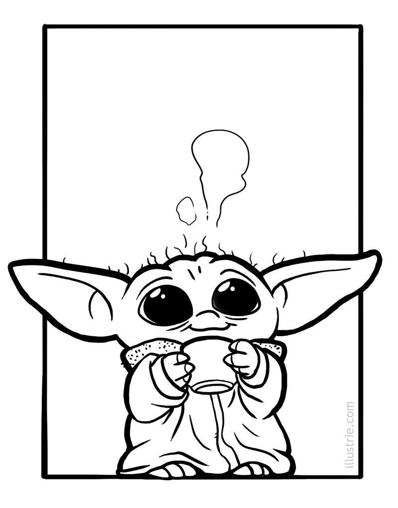 Babyyoda Free Download Coloring Page Star Wars Drawings Yoda Drawing Yoda Art