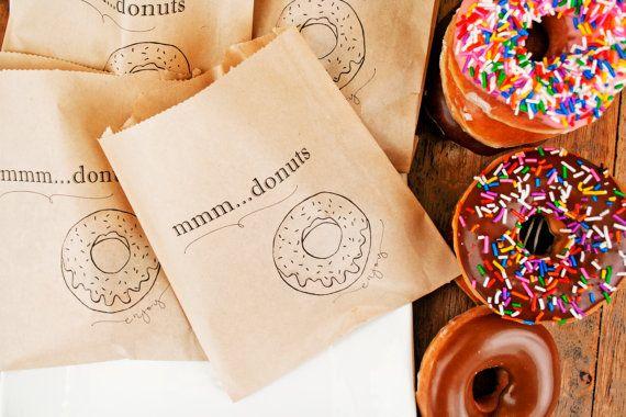 Donut Favor Bag - Wedding Favor, Shower Favor and Take Home Bags - Hosting Bags - Kraft food service bag - 20 Bags