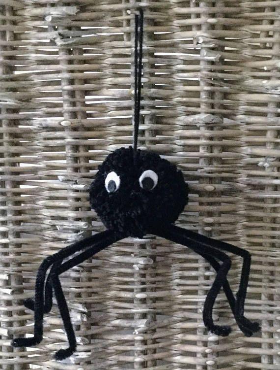 Halloween spider hanging pom pom decoration *** The Best of Etsy - halloween decorations spider