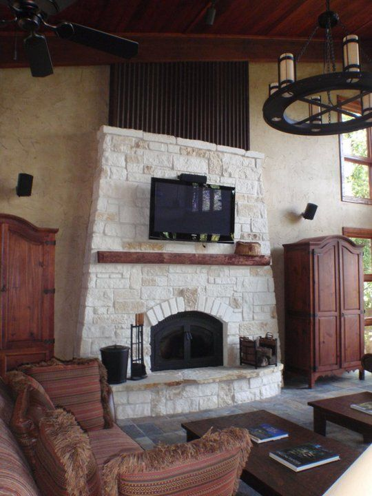 Austin Chopped Stone Fireplace Fireplace Remodel Fireplace