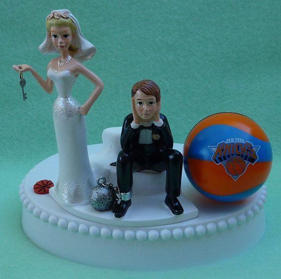 Wedding Cake Topper Oklahoma City Thunder Okc Basketball Themed Ball And Chain Key W Bridal Garter Sports Fans Bride Groom Humorous Funny