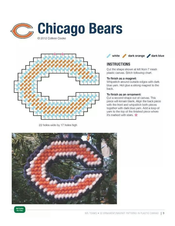 chicago bears ornament  magnet made pattern