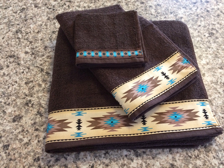 Western Towel Set Navajo Towels Aztec Towel Set Southwestern Home Decor Western Home Decor Western Bathrooms Southwestern Home Decor Western Wedding Gifts