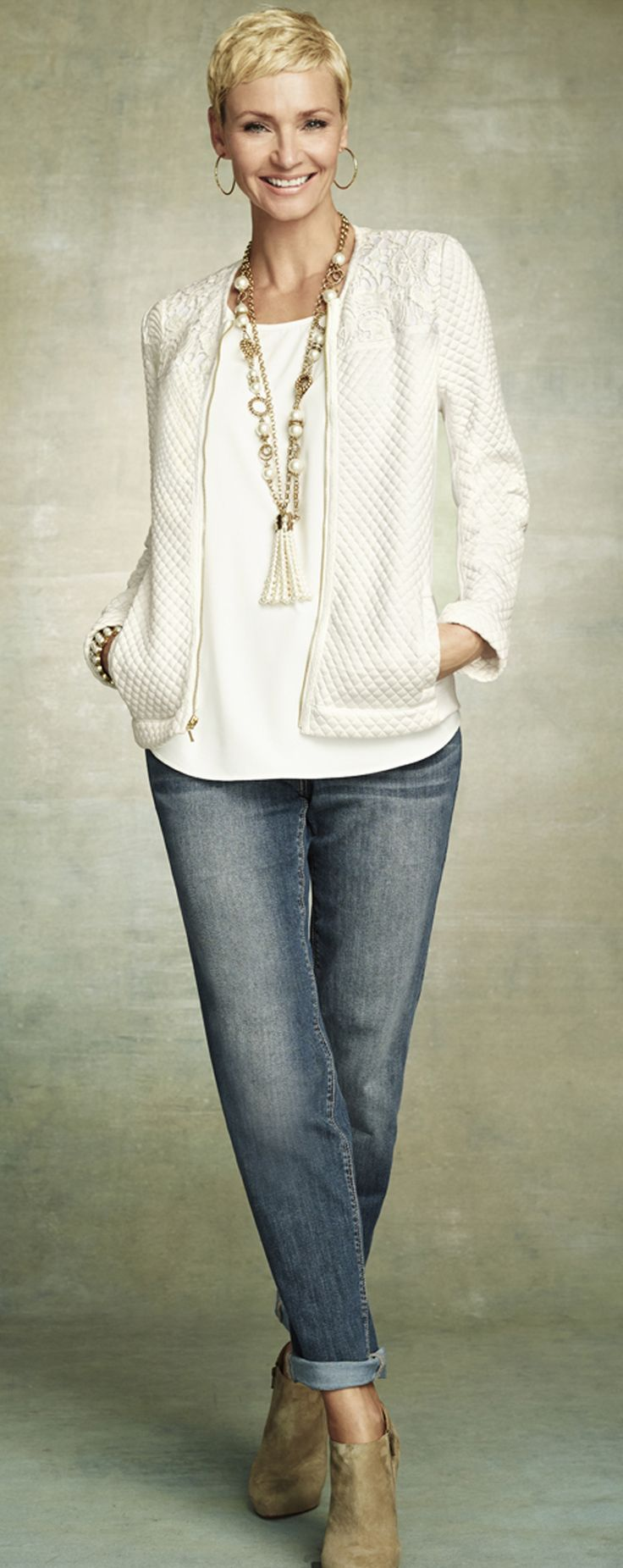 Winter White. Chico's Quilted Pieced Lace Jacket. Women