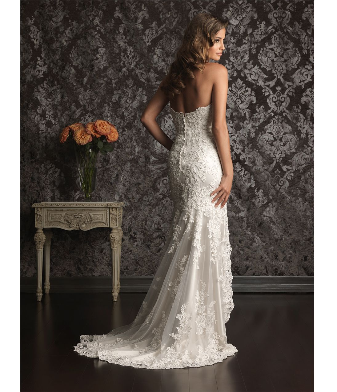 cf0ce5db0a1 2013 Allure Bridal (back)- White Lace Applique   Charmeuse Satin High Low  Wedding