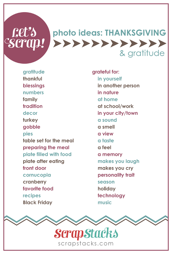 Thanksgiving Gratitude Page Title Ideas For Scrapbooking From