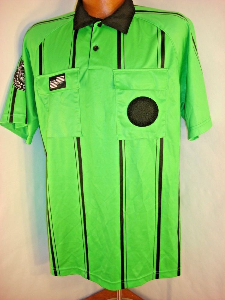 Official Sports International Men S M Soccer Referee Shirt Jersey Green Black Referee Shirts Soccer Referee Referee