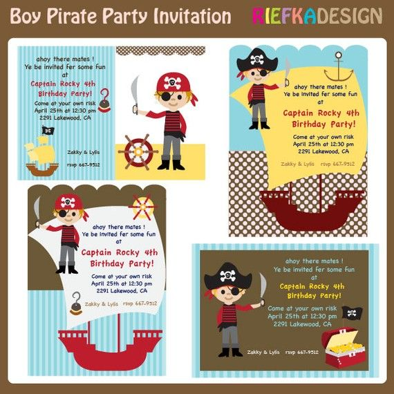 Boy Pirate Invites - Blank Invitation Template - For Printed Cards
