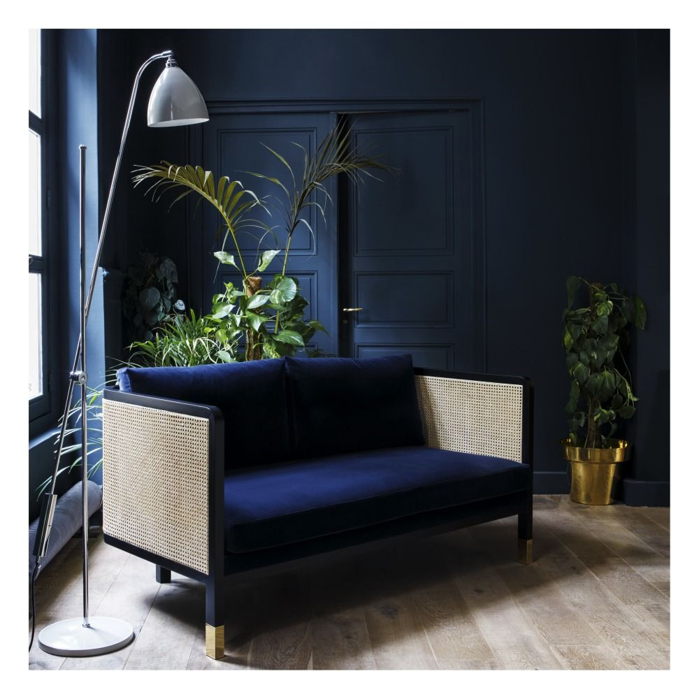 Canape 2 Places Cannage Velours Bleu Marine Furniture Trends