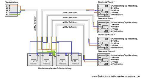 Schaltplan eines Thermostats für eine Fußbodenheizung | elektrische ...