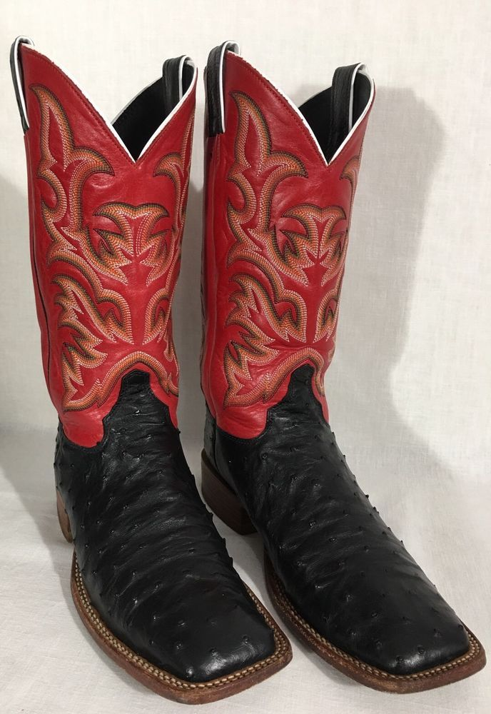 Justin 8575 Men S Black Red Full Quill Ostrich Aqha Remuda Boots