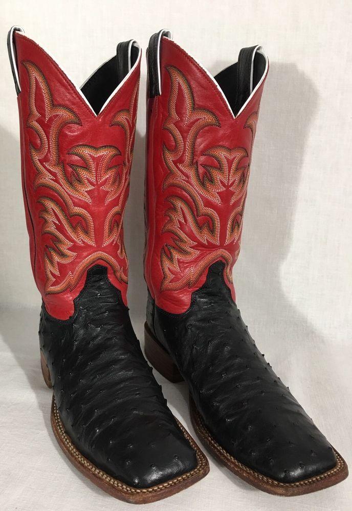 Justin 8575 Men S Black Red Full Quill Ostrich Aqha Remuda Boots