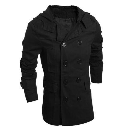 chaqueta informal moda de lujo cruzada de los hombres encapuchados nuevo otoño y invierno para hombre-negro