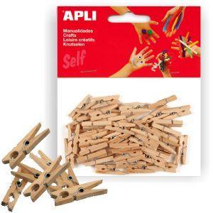 50/x mini de pinzas de madera/ /madera Pinzas de ropa de decoraci/ón natural Ornamentales Clips madera 25x3 mm