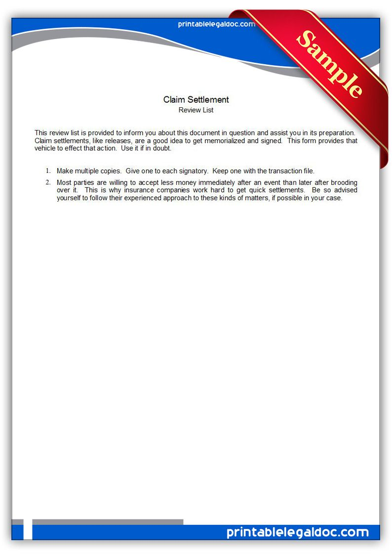 Free Printable Claim Settlement Legal Forms  Free Legal Forms