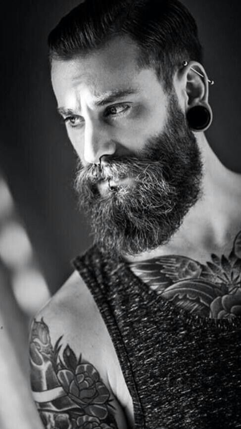 40 perfect beard and hairstyle looks for men piercing for Bearded tattooed man