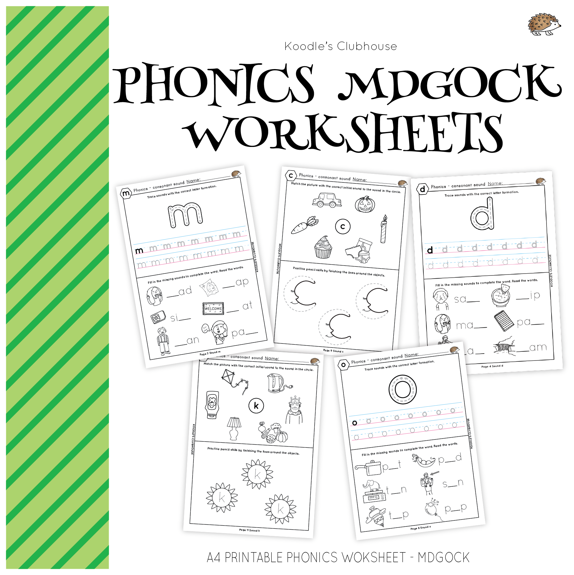 Phonics Mdgock Worksheets From Koodle S Clubhouse