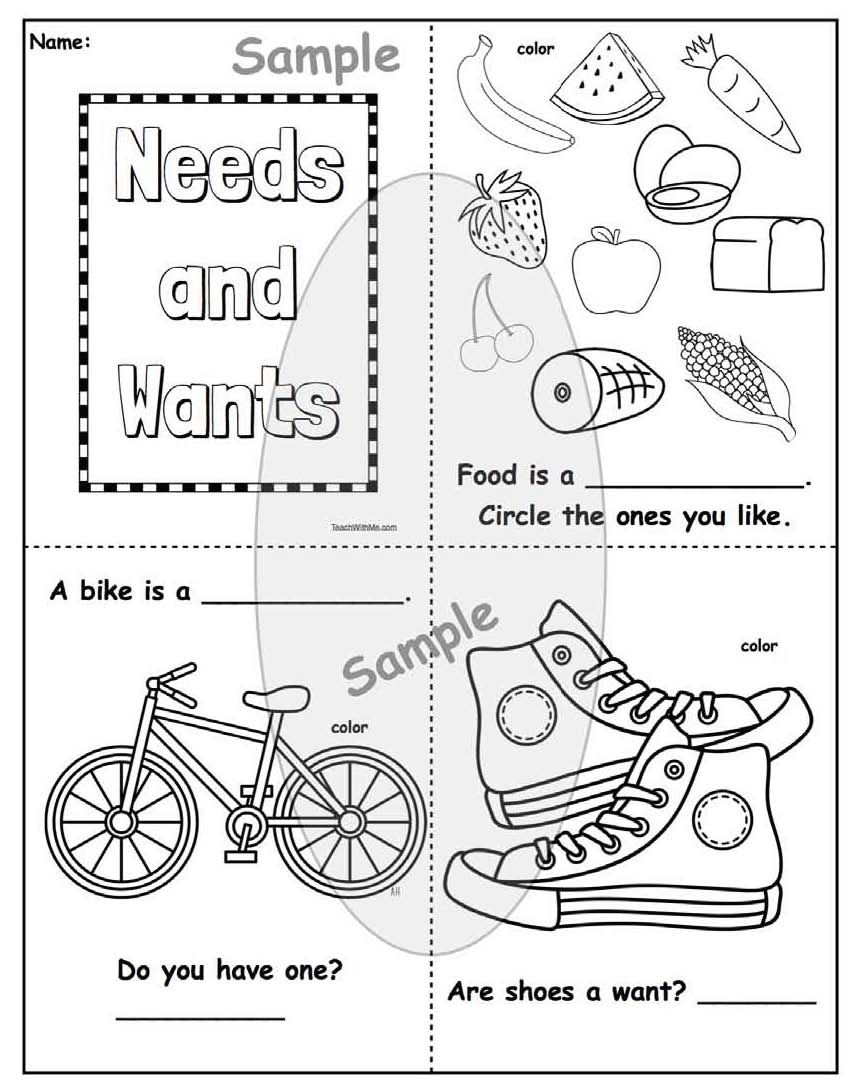 Activities For Needs Wants Needs Vs Wants Kindergarten Worksheets Emergent Readers Kindergarten
