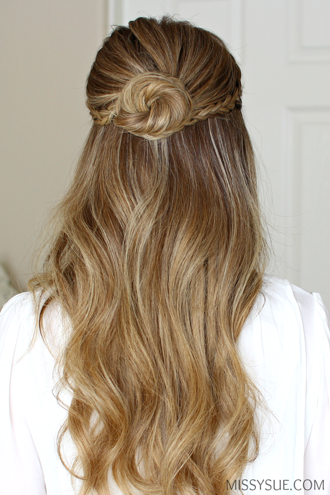 Half Up Braid Wrapped Bun Missy Sue Prom Hairstyles For Long Hair Down Hairstyles Half Bun Hairstyles