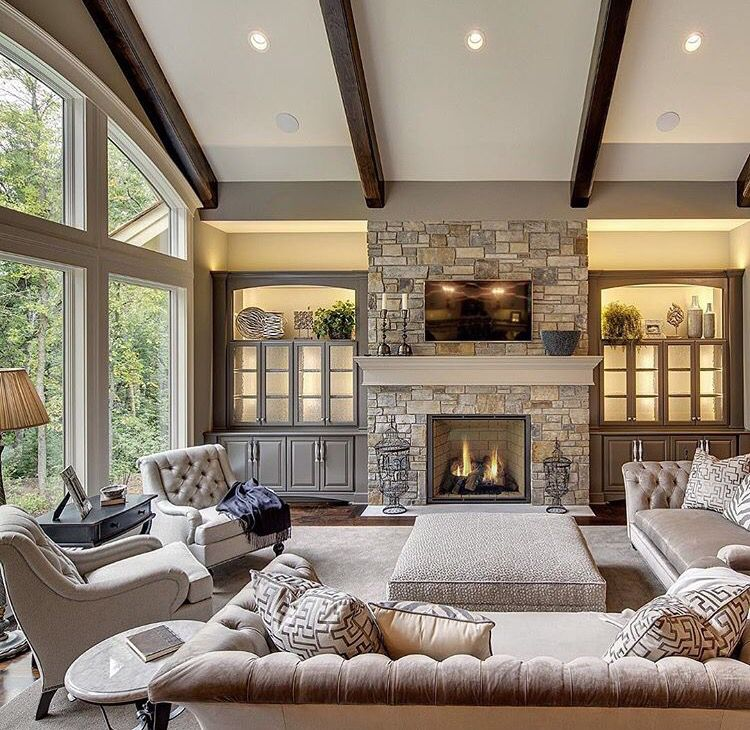 Great Room With Fireplace Transitional Living Rooms Transitional Living Room Design Living Room Arrangements