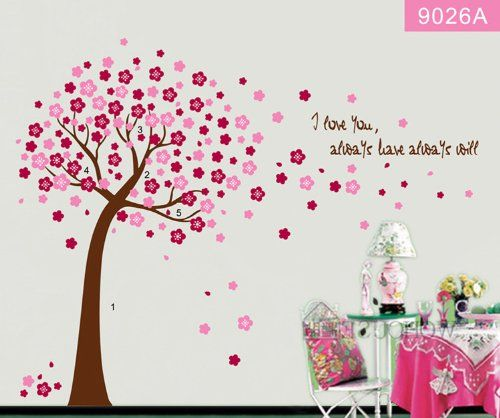 Hunnt Pink Sakura Flower Cherry Blossom Treequote I Love You - Wall stickers for girlspink cherry blossom tree with birds wall stickers girls bedroom