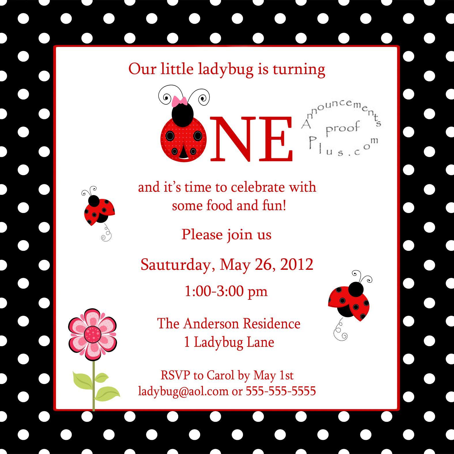 birthday invitations ladybug birthday