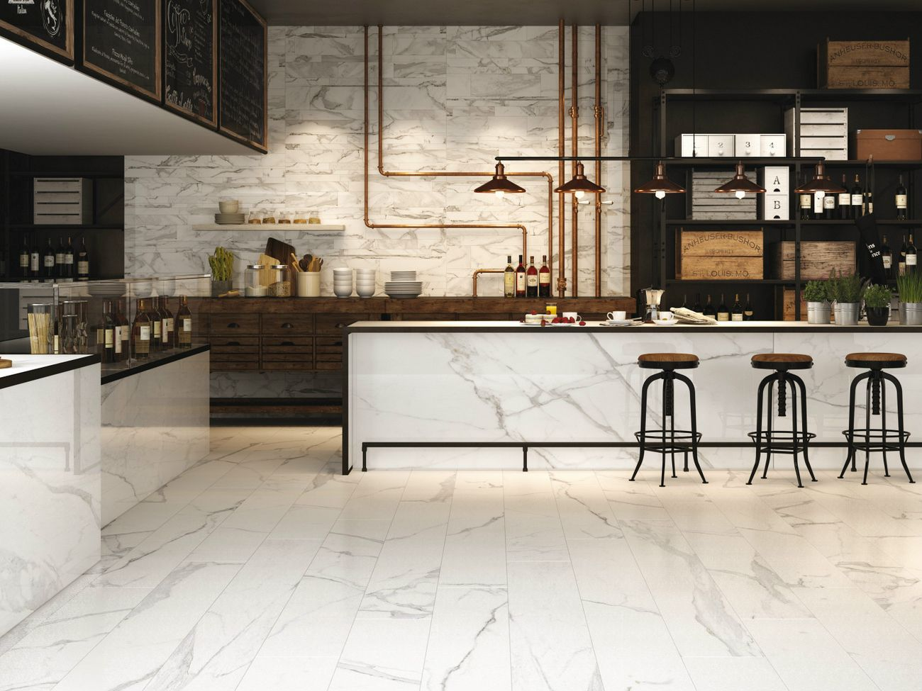 Indoor Porcelain Stoneware Wall Tiles With Marble Effect Infinity