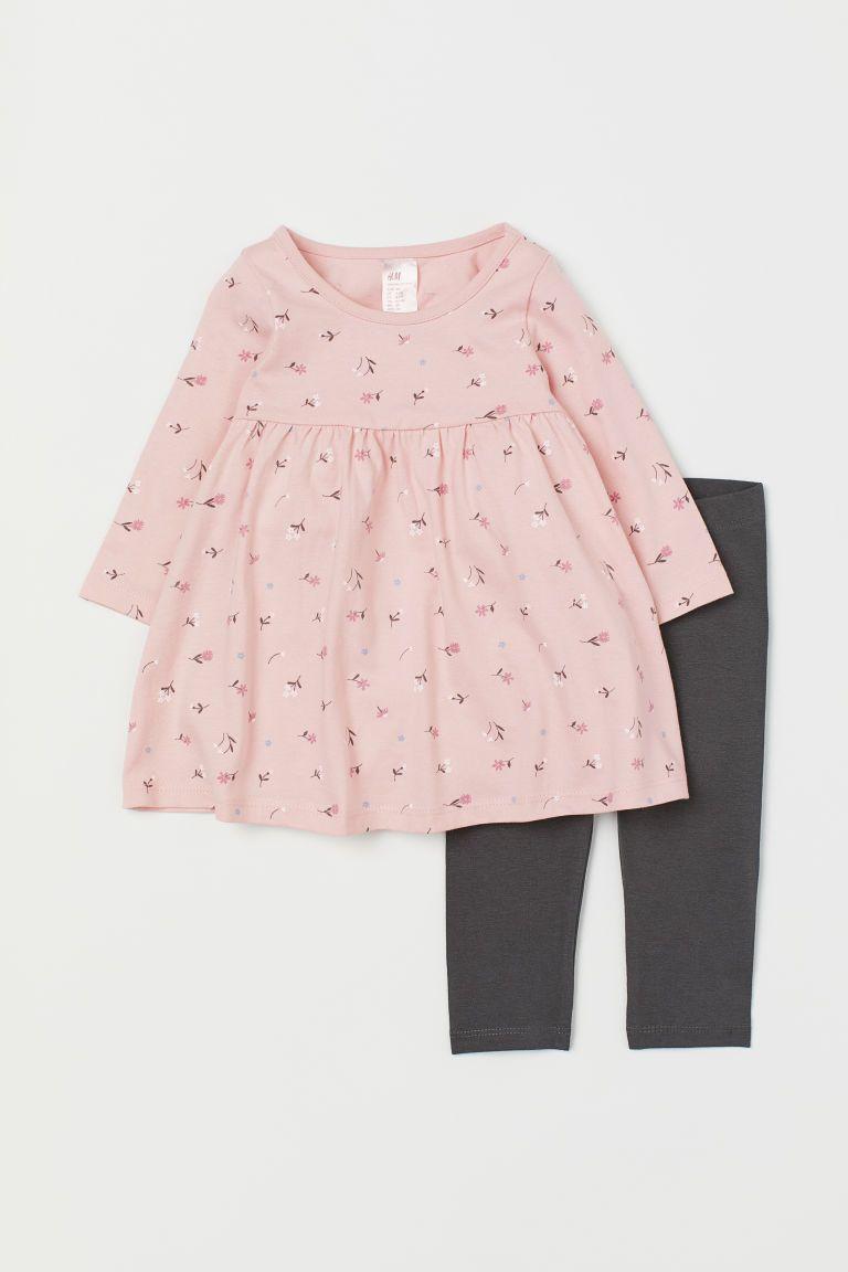 Dzersejowa Sukienka I Legginsy Jasnorozowy Kwiaty Dziecko H M Pl Jersey Dress Midi Flare Skirt Printed Skirts