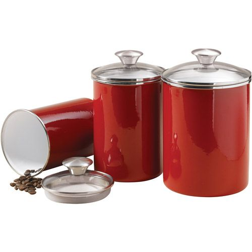 Perfect Tramontina 3 Piece Covered Porcelain Canister Set, Red