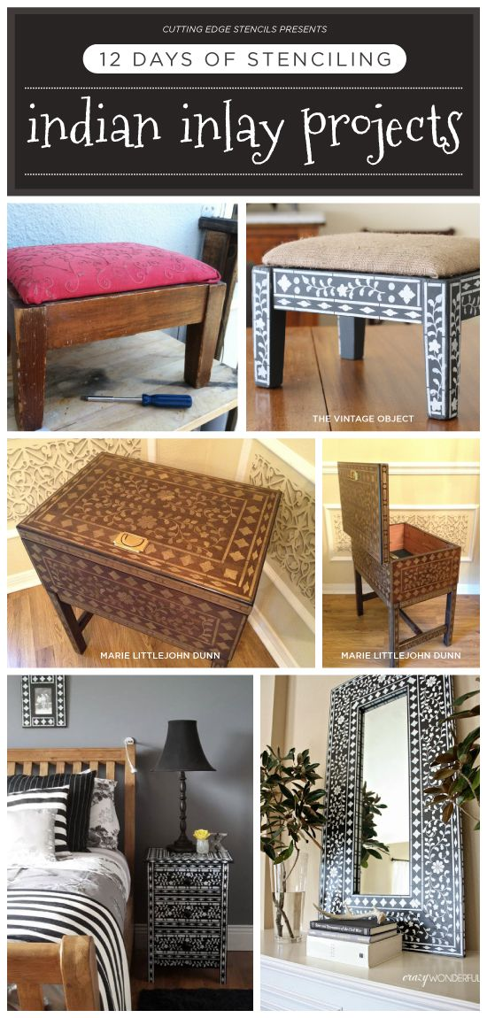 Cutting Edge Stencils shares Indian Inlay stenciled DIY home decor and Holiday gift options. http://www.cuttingedgestencils.com/indian-inlay-stencil-furniture.html #indianinlay #stencil #projects #cuttingedgestencils
