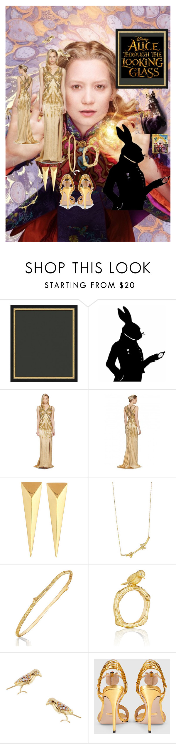 """""""Alice through the looking glass"""" by niqueyboop ❤ liked on Polyvore featuring Versace, Mimi So, Gucci, contestentry and DisneyAlice"""