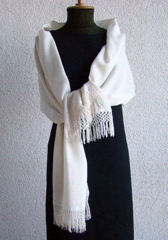 Bridal Stole Wedding Shrug - Handwoven Bridal Shawl, Spanish Lace