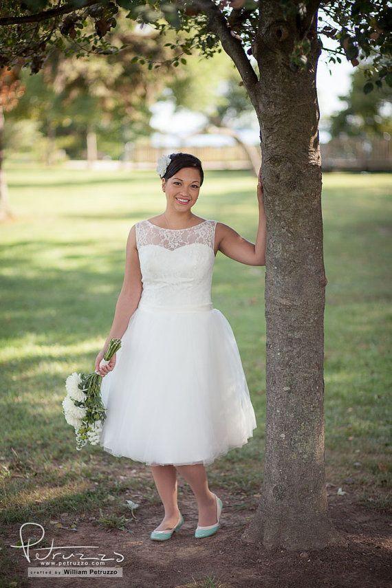 Illusion+Neckline+Tulle+Reception+Wedding+by+bridalblissdesigns,+$698.00