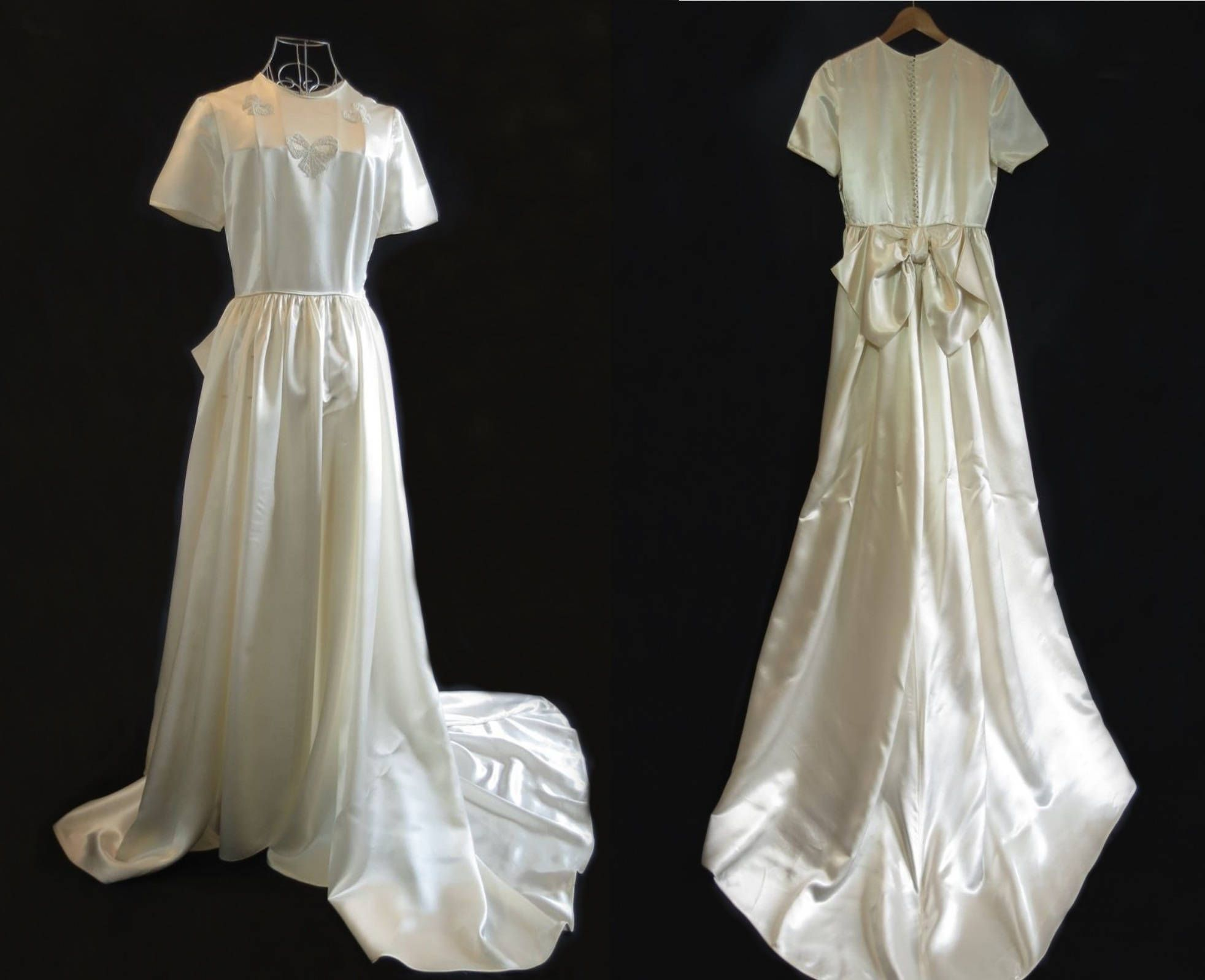 40s wedding dress  s Vintage Wedding Dress Traditional Wedding Gown Beaded Satin
