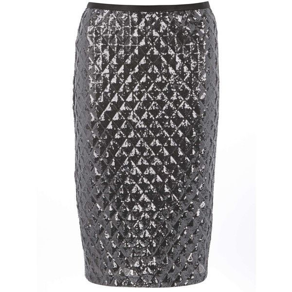 Dorothy Perkins Silver Diamond Sequin Pencil Skirt ($26) ❤ liked on Polyvore featuring skirts, silver, silver skirts, dorothy perkins, knee length pencil skirt, silver sequin skirt and sequin skirts