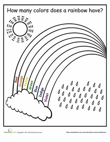 How Many Colors In A Rainbow Worksheet Education Com Free Preschool Worksheets School Worksheets Preschool Colors