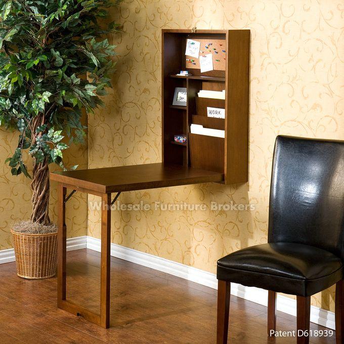 Southern Enterprises Fold Out Convertible Desk Walnut Design Takes Up Very Little E When Closed 3 Shelves 2 Adjule Provide Ample