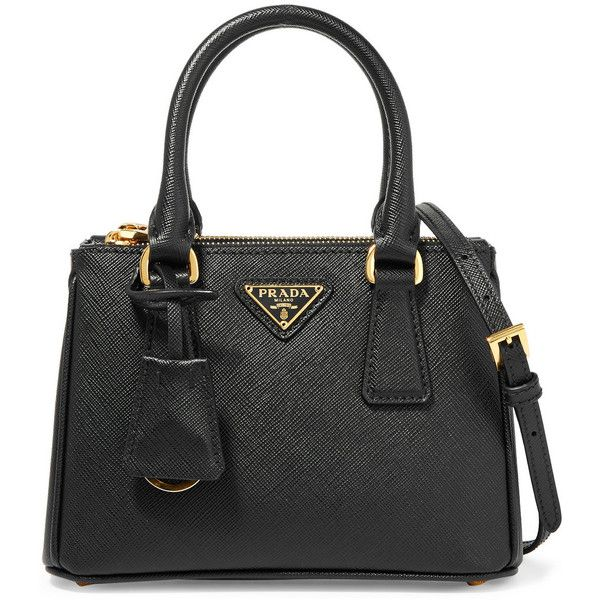 32dab950d72c9a Prada Galleria Baby textured-leather tote ($1,510) ❤ liked on Polyvore  featuring bags, handbags, tote bags, handbag's, black, travel tote, mini tote  bag, ...