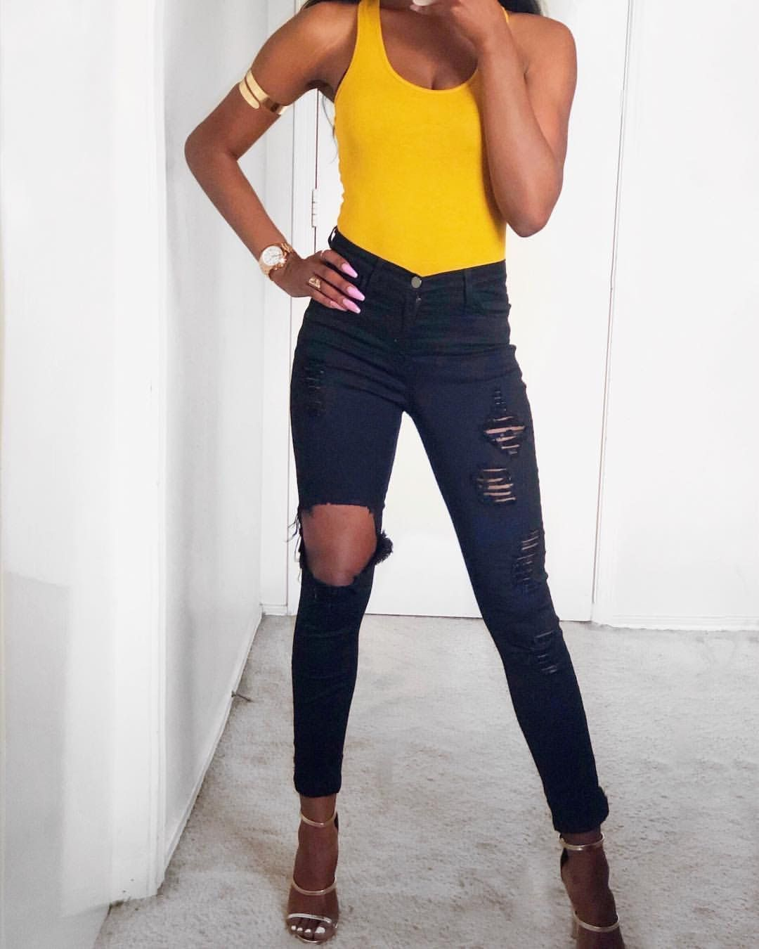 Casual women\u0027s outfit. Mustard bodysuit from shopdressygirl