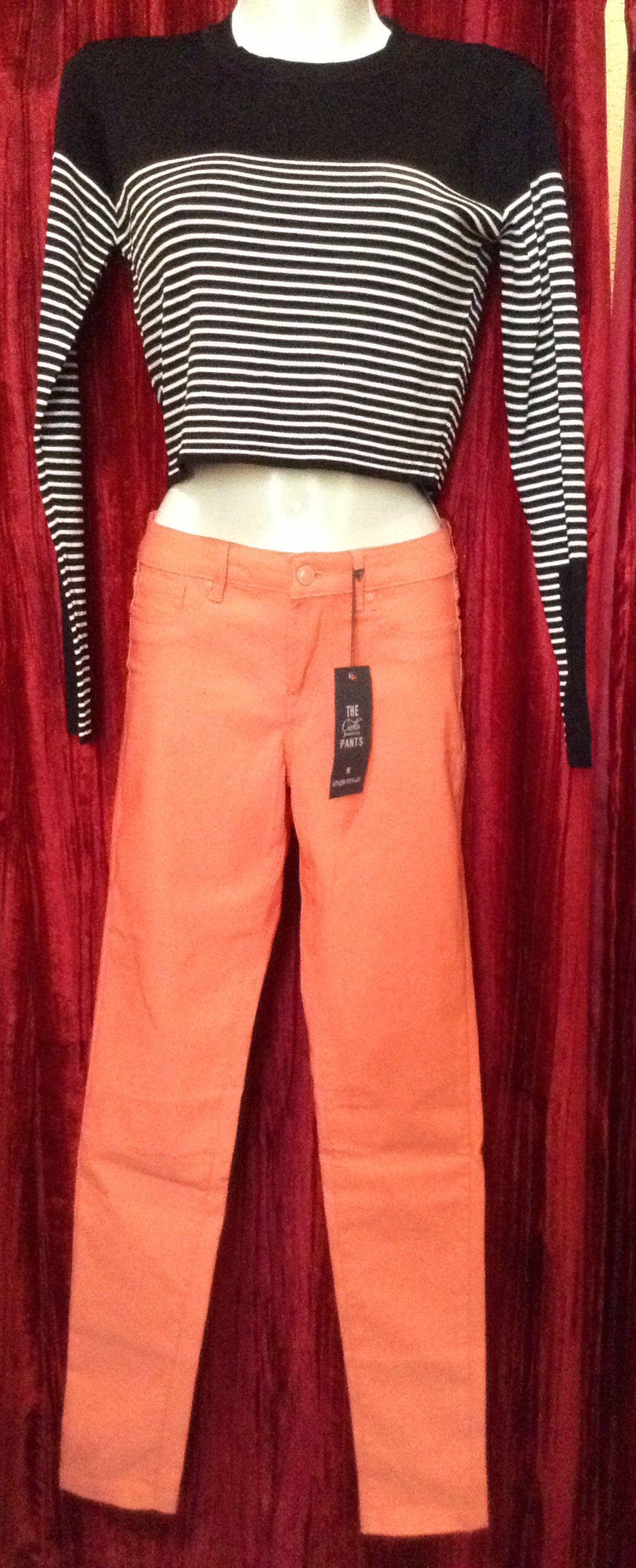 Blusa rayas S pantalón salmón M