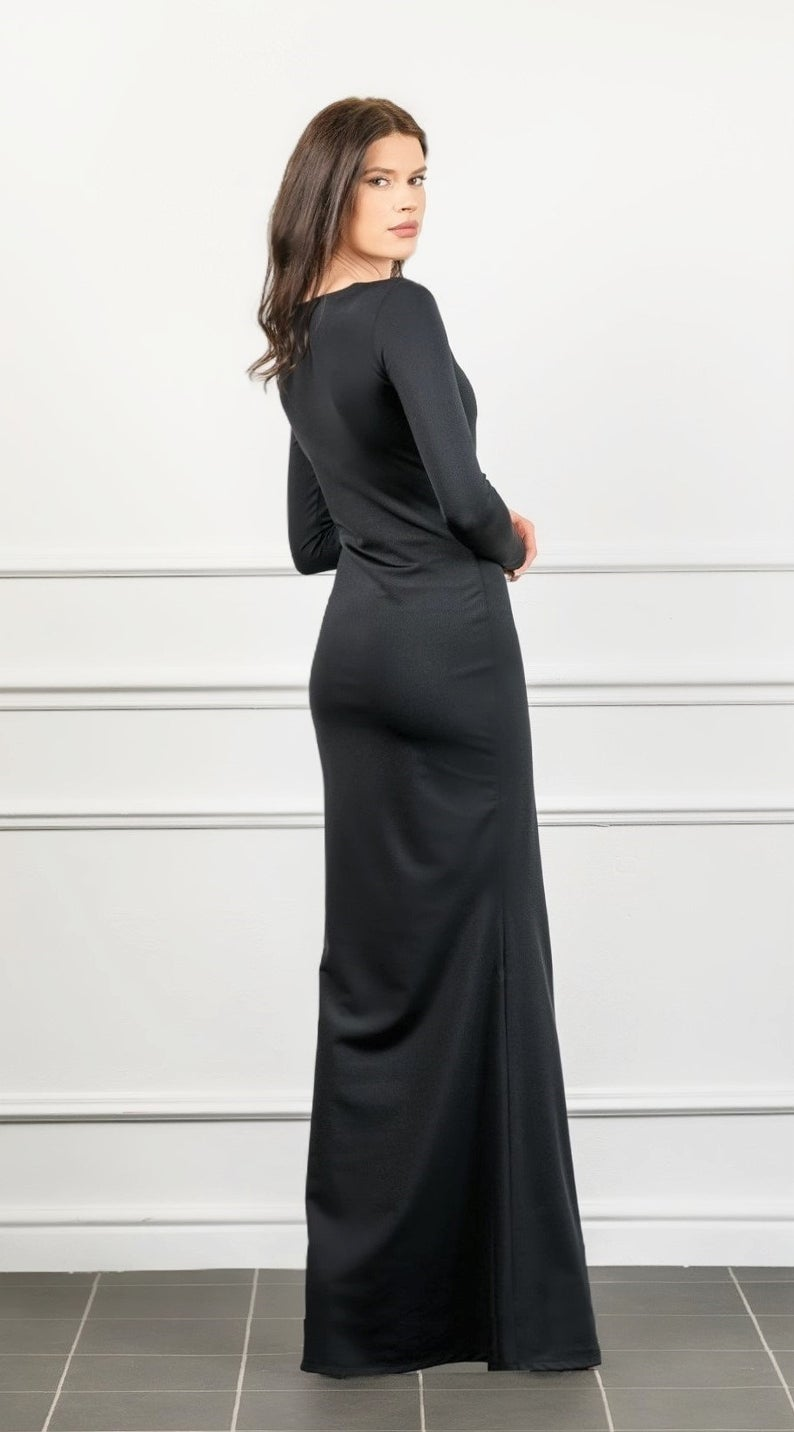 Black Bodycon Long Sleeves Fitted Maxi Dress Bodycon Evening Etsy In 2020 Long Sleeve Fitted Maxi Dress Fitted Maxi Dress Maxi Dress
