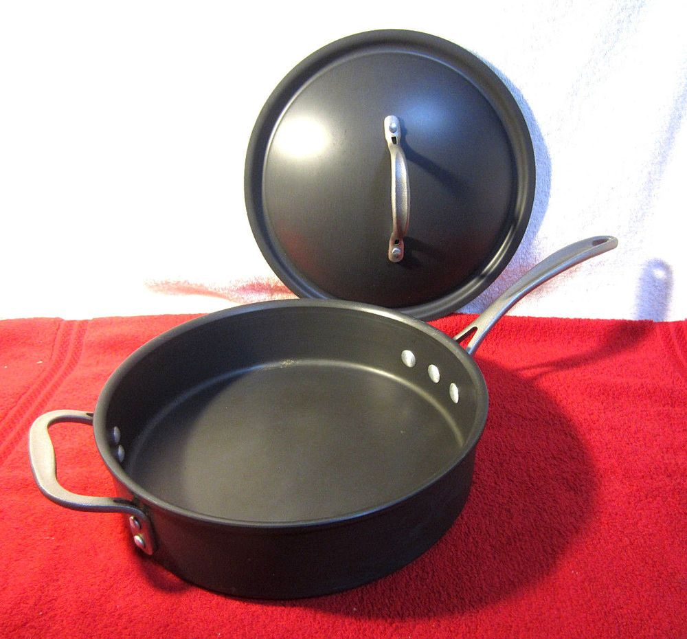 Calphalon 5003 Anodized 3 Quart 10 Inch Fry Pan Skillet Lid Toledo Ohio Made Calphalon Vintage Cookware Calphalon Frying Pan