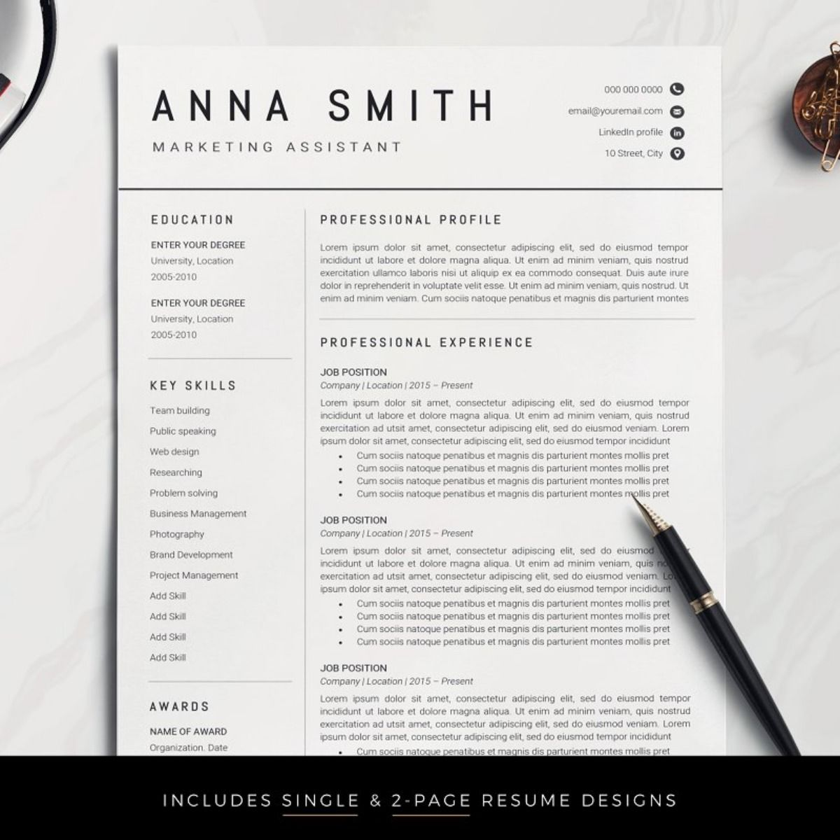 Resume Template / CV Resume template, One page resume